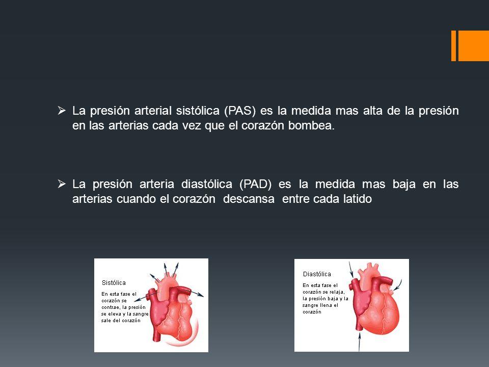 La presión arterial sistólica (PAS) es la medida mas alta de la presión en las arterias cada vez que el corazón bombea.