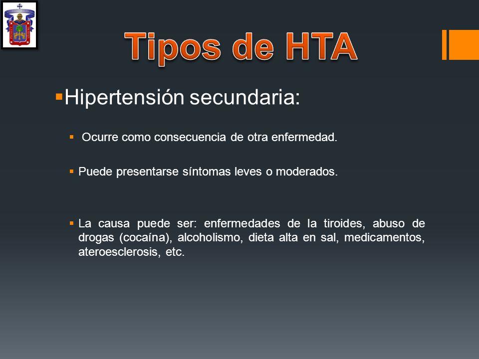 Tipos de HTA Hipertensión secundaria: