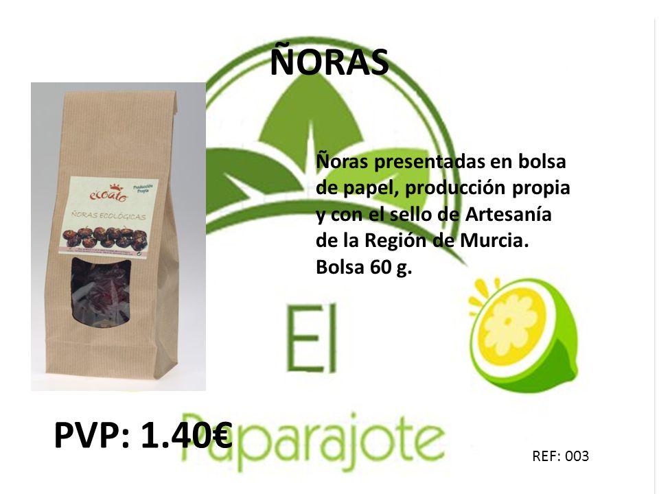 ÑORAS Ñoras presentadas en bolsa de papel, producción propia y con el sello de Artesanía de la Región de Murcia. Bolsa 60 g.