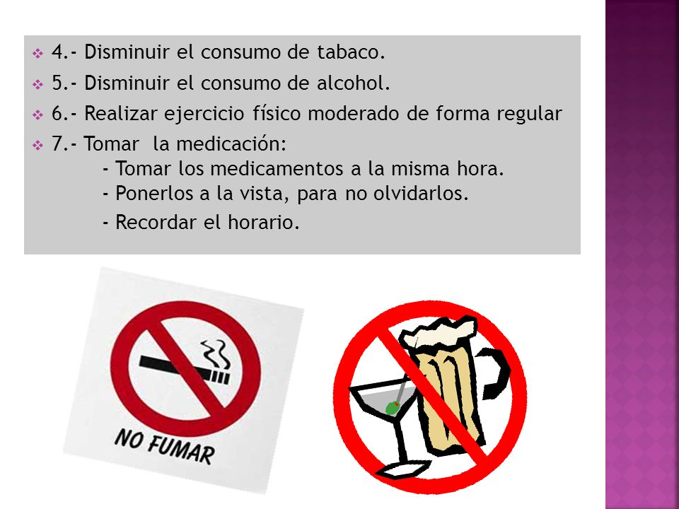 4.- Disminuir el consumo de tabaco.