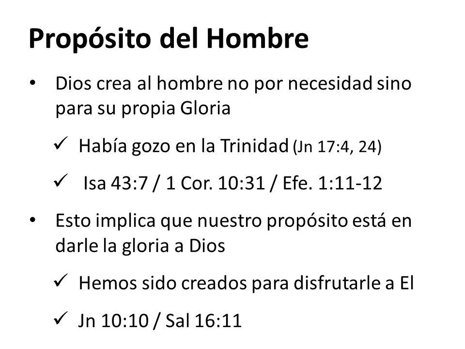 Propósito del Hombre Dios crea al hombre no por necesidad sino para su propia Gloria. Había gozo en la Trinidad (Jn 17:4, 24)
