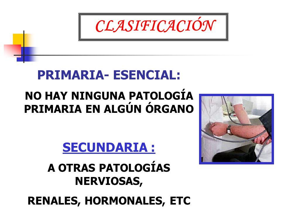 CLASIFICACIÓN PRIMARIA- ESENCIAL: SECUNDARIA :
