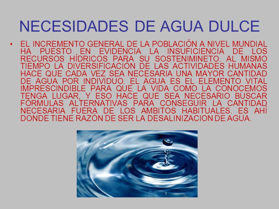 NECESIDADES DE AGUA DULCE