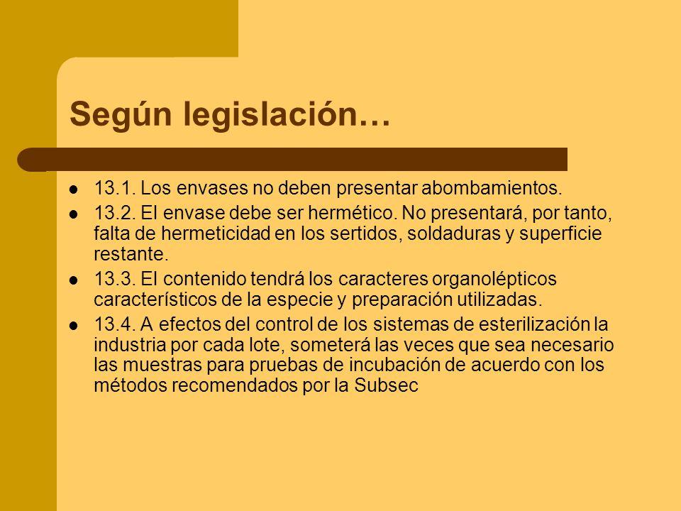 Según legislación… 13.1. Los envases no deben presentar abombamientos.