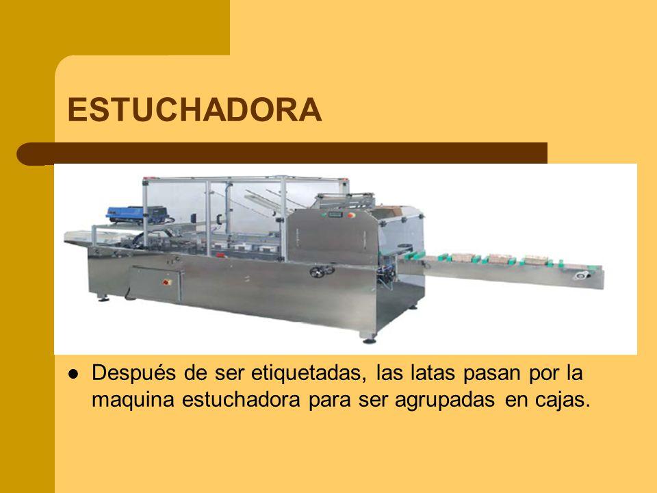 ESTUCHADORA Después de ser etiquetadas, las latas pasan por la maquina estuchadora para ser agrupadas en cajas.