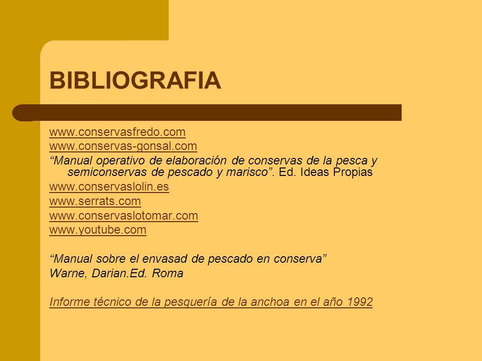 BIBLIOGRAFIA www.conservasfredo.com www.conservas-gonsal.com