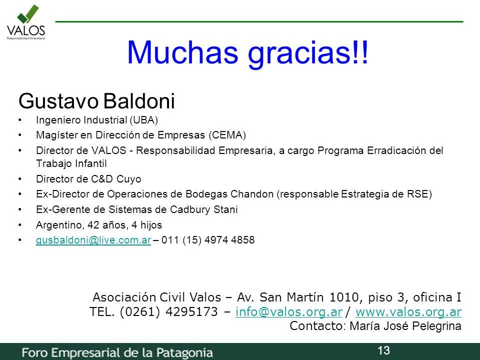Muchas gracias!! Gustavo Baldoni