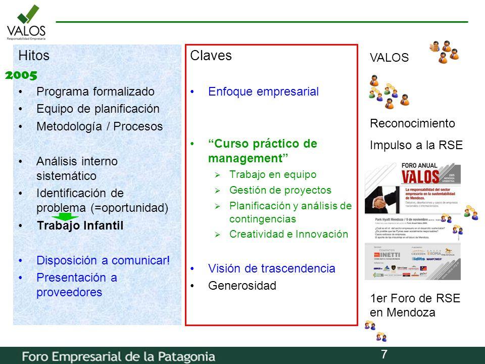 Hitos Claves 2005 Programa formalizado Equipo de planificación