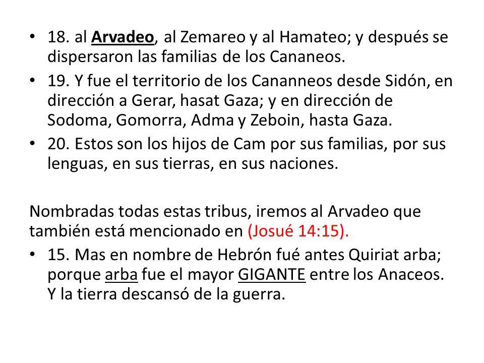 18. al Arvadeo, al Zemareo y al Hamateo; y después se dispersaron las familias de los Cananeos.