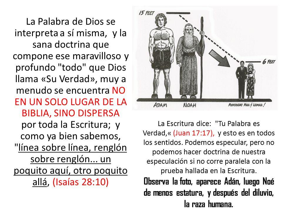 La Palabra de Dios se interpreta a sí misma, y la sana doctrina que compone ese maravilloso y profundo todo que Dios llama «Su Verdad», muy a menudo se encuentra NO EN UN SOLO LUGAR DE LA BIBLIA, SINO DISPERSA por toda la Escritura; y como ya bien sabemos, línea sobre línea, renglón sobre renglón... un poquito aquí, otro poquito allá, (Isaías 28:10)