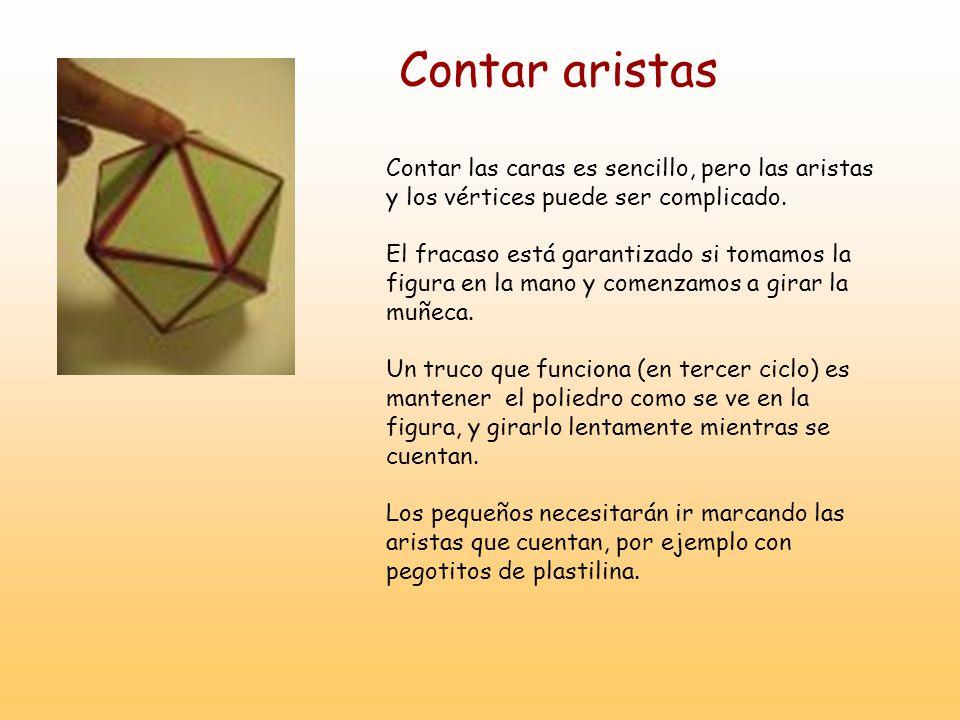 Contar aristas Contar las caras es sencillo, pero las aristas y los vértices puede ser complicado.