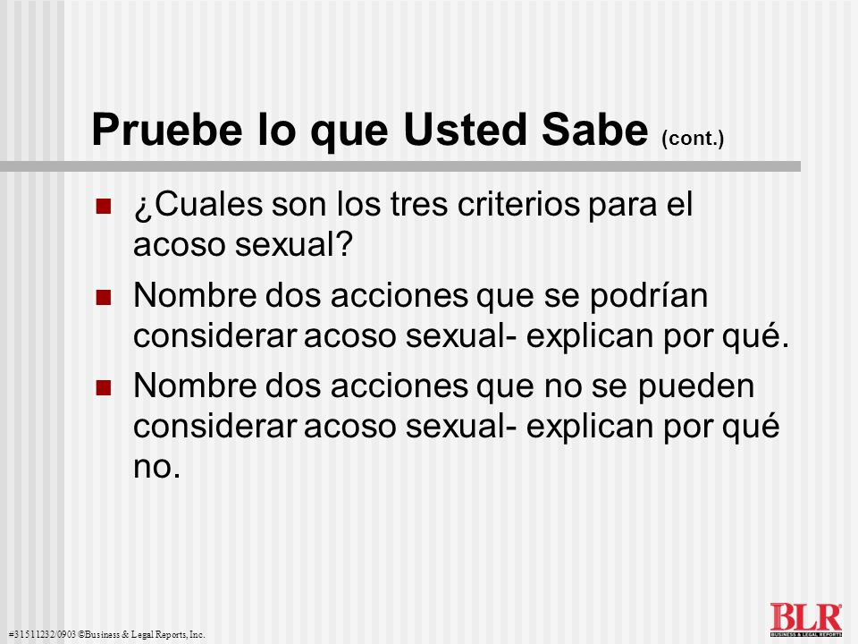 Pruebe lo que Usted Sabe (cont.)