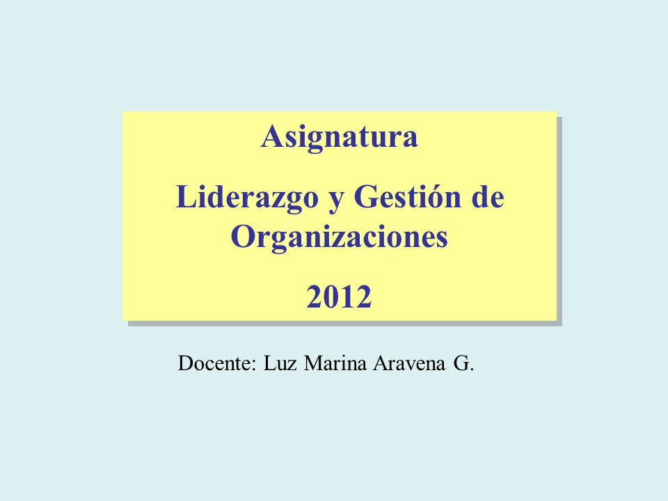Liderazgo y Gestión de Organizaciones
