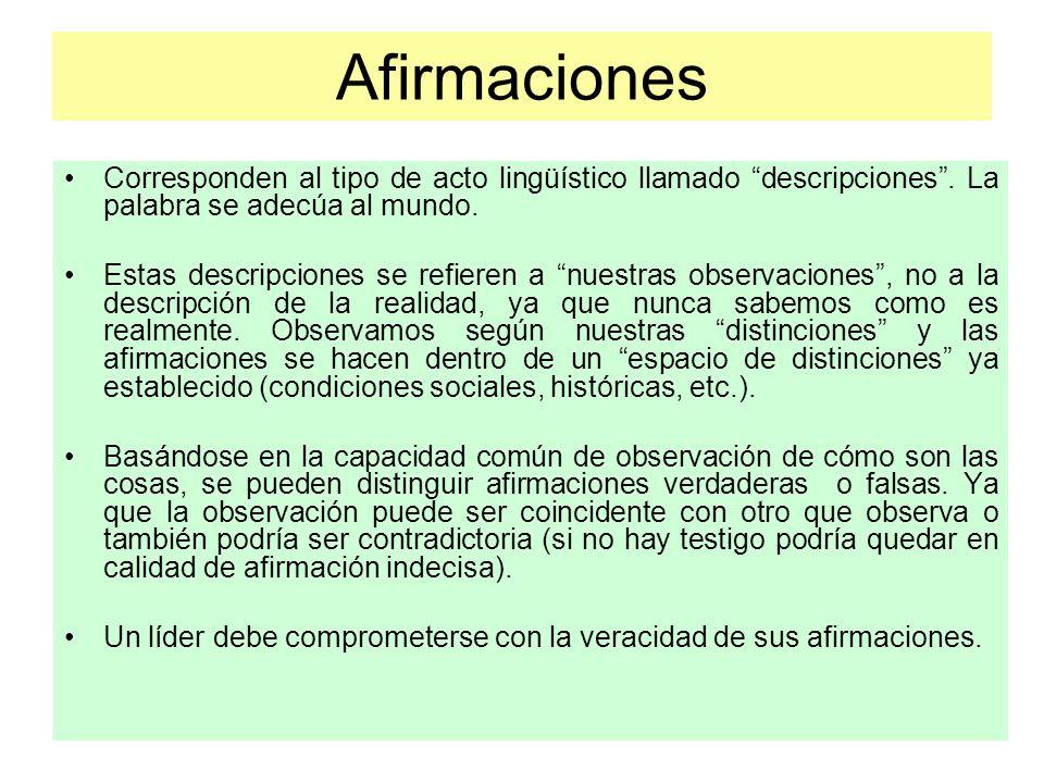 Afirmaciones Corresponden al tipo de acto lingüístico llamado descripciones . La palabra se adecúa al mundo.