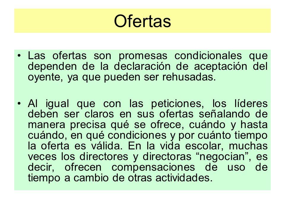 Ofertas Las ofertas son promesas condicionales que dependen de la declaración de aceptación del oyente, ya que pueden ser rehusadas.