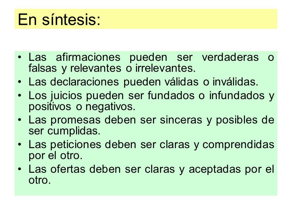 En síntesis: Las afirmaciones pueden ser verdaderas o falsas y relevantes o irrelevantes. Las declaraciones pueden válidas o inválidas.
