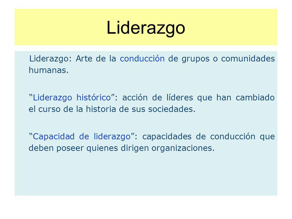 Liderazgo Liderazgo: Arte de la conducción de grupos o comunidades humanas.