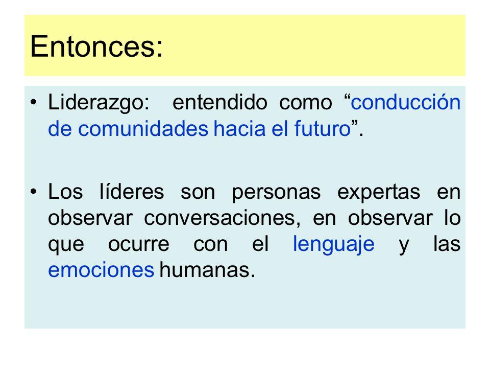 Entonces: Liderazgo: entendido como conducción de comunidades hacia el futuro .