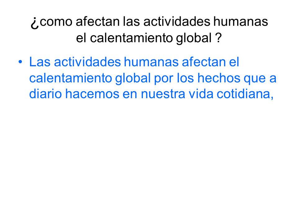¿como afectan las actividades humanas el calentamiento global