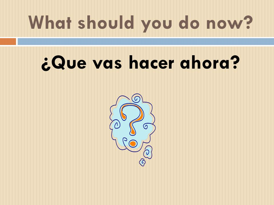 What should you do now ¿Que vas hacer ahora