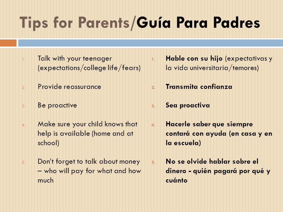 Tips for Parents/Guía Para Padres