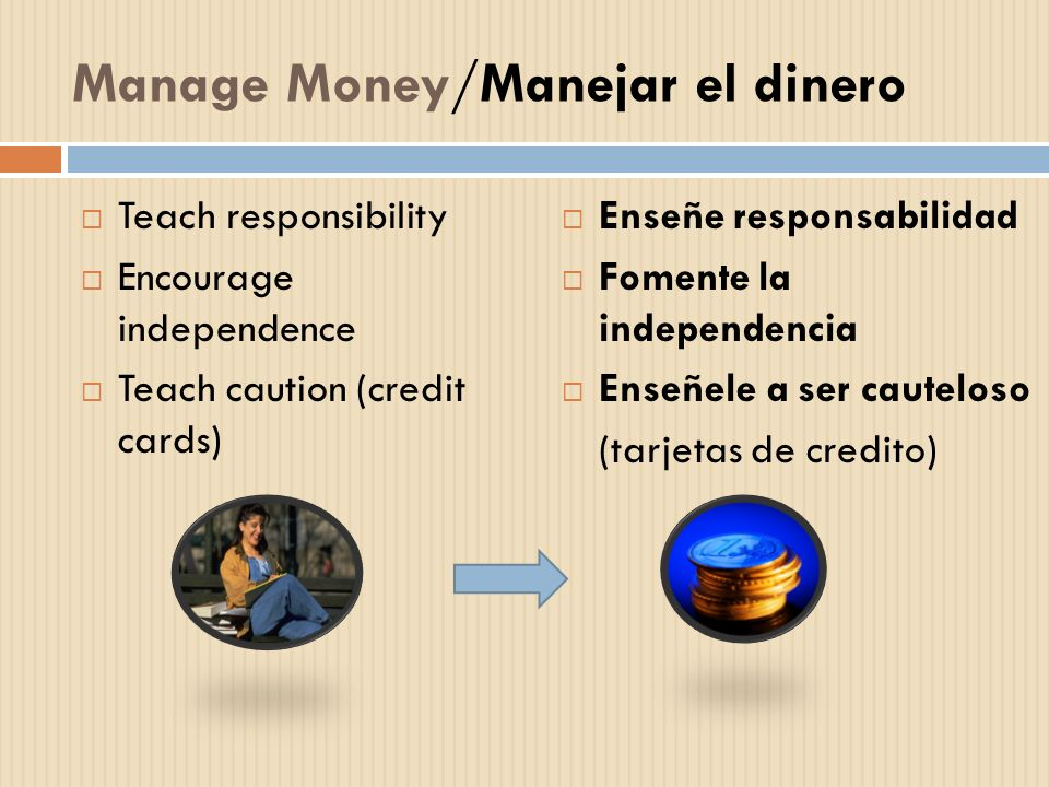 Manage Money/Manejar el dinero