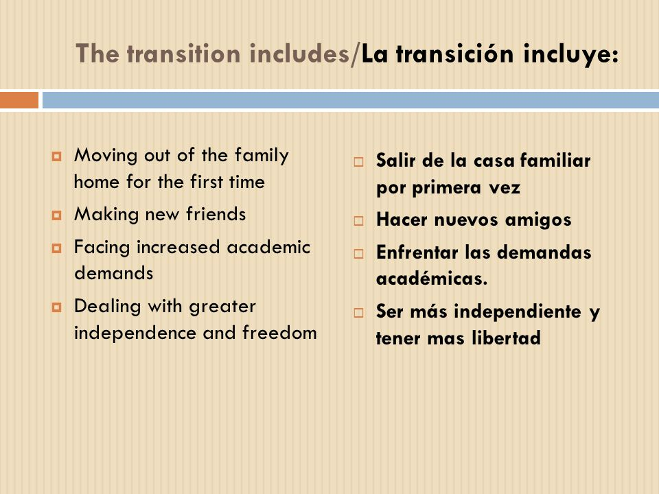 The transition includes/La transición incluye: