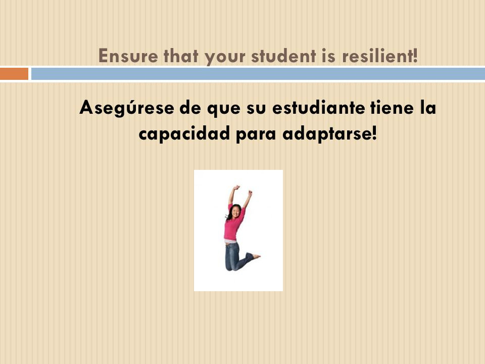 Ensure that your student is resilient