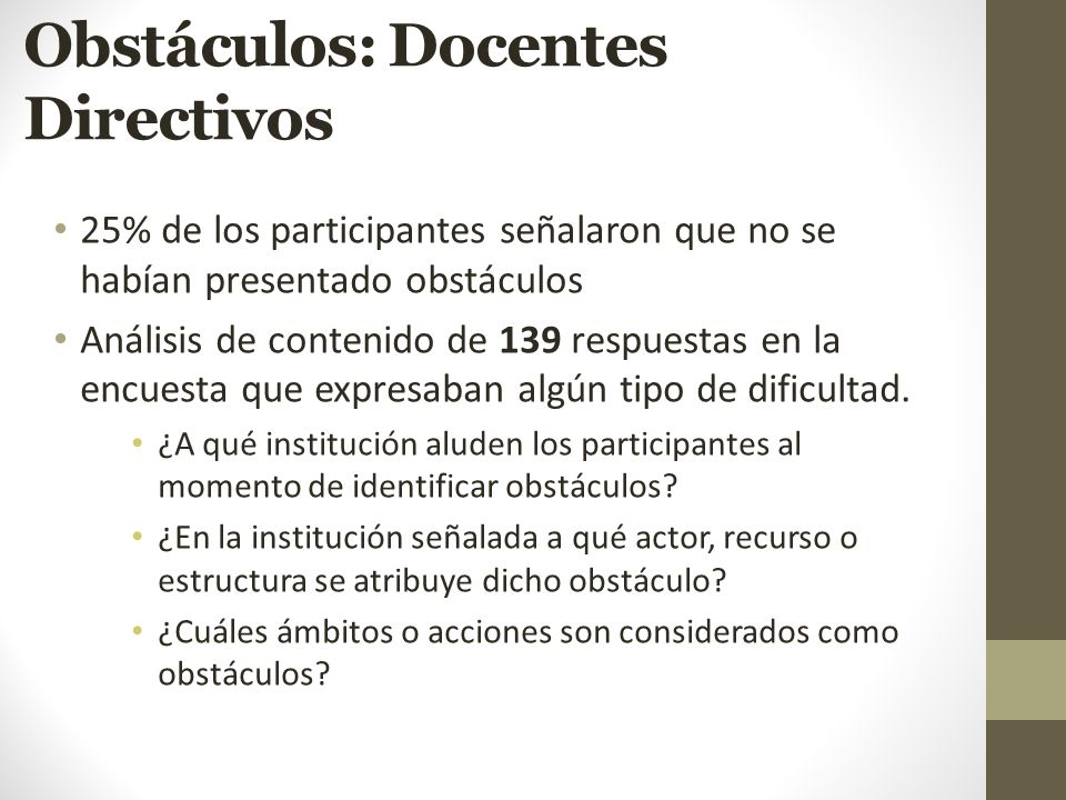 Obstáculos: Docentes Directivos