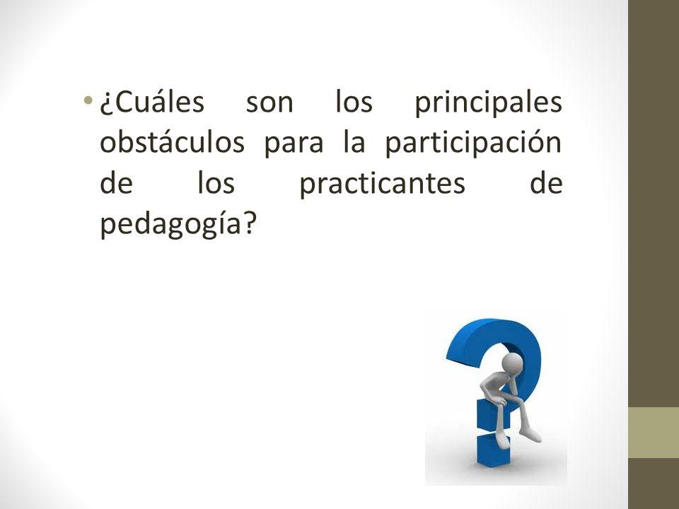 ¿Cuáles son los principales obstáculos para la participación de los practicantes de pedagogía