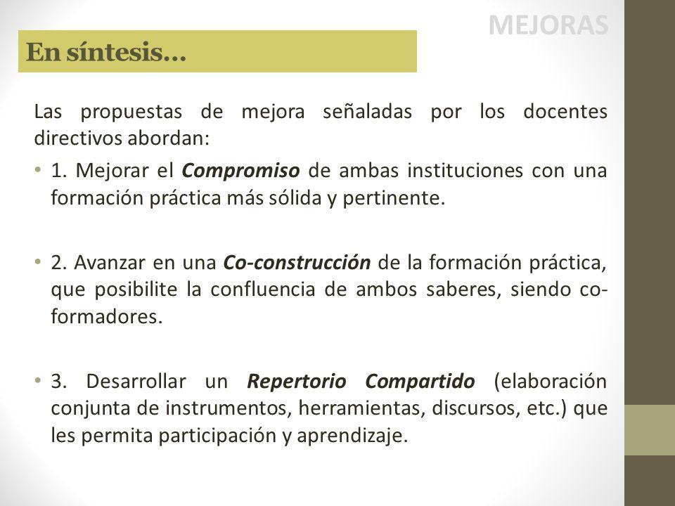 MEJORAS En síntesis… Las propuestas de mejora señaladas por los docentes directivos abordan: