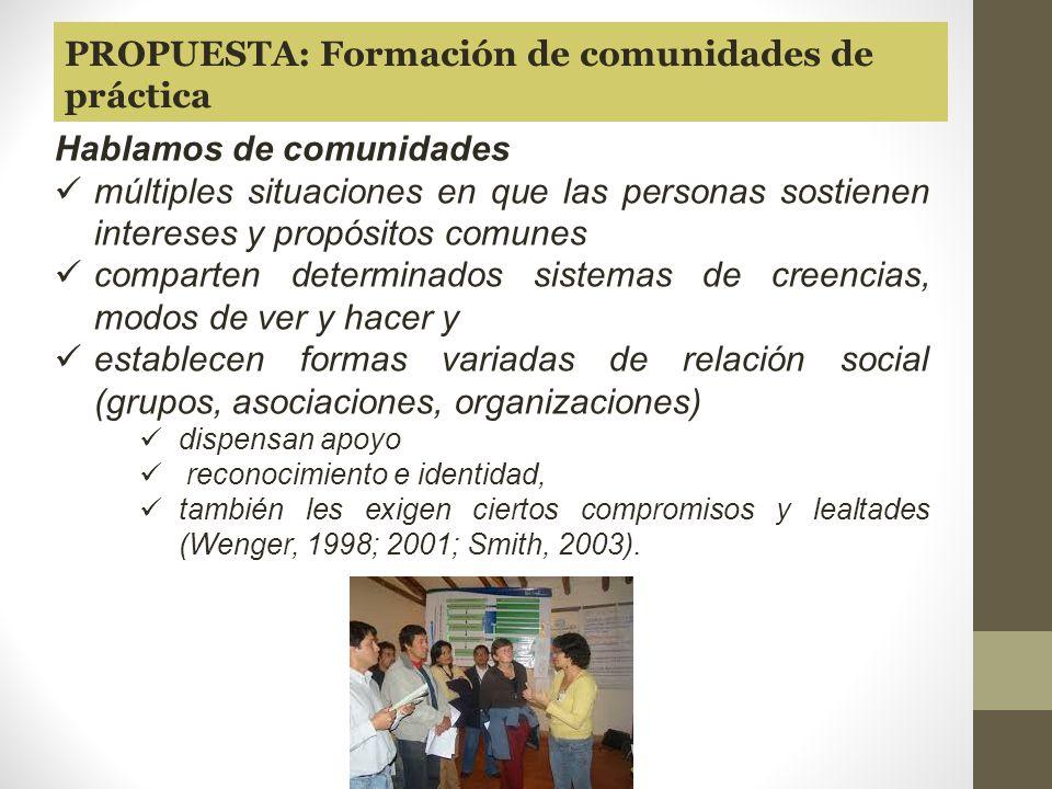 PROPUESTA: Formación de comunidades de práctica
