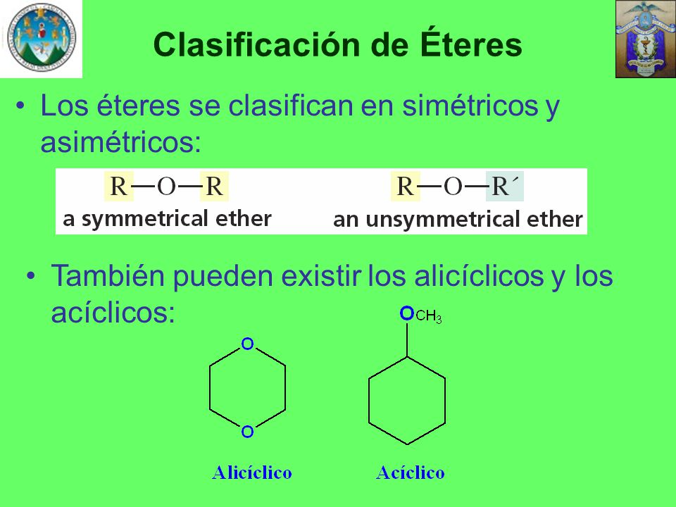 Clasificación de Éteres