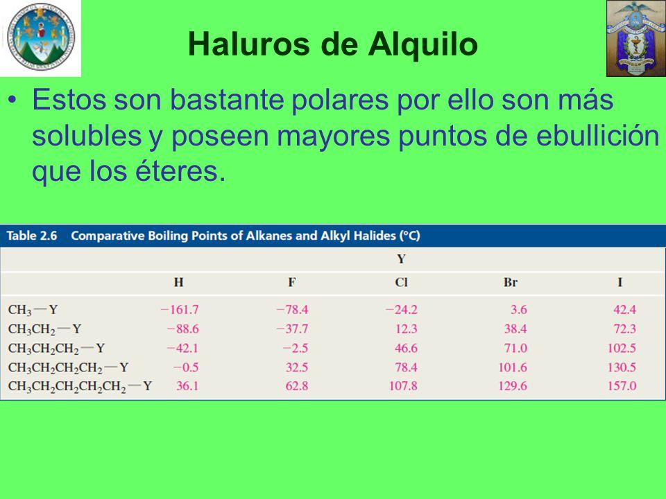 Haluros de Alquilo Estos son bastante polares por ello son más solubles y poseen mayores puntos de ebullición que los éteres.