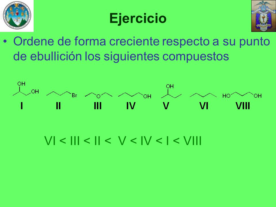 Ejercicio Ordene de forma creciente respecto a su punto de ebullición los siguientes compuestos.