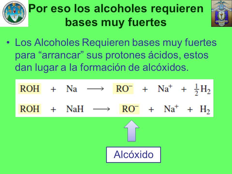 Por eso los alcoholes requieren bases muy fuertes
