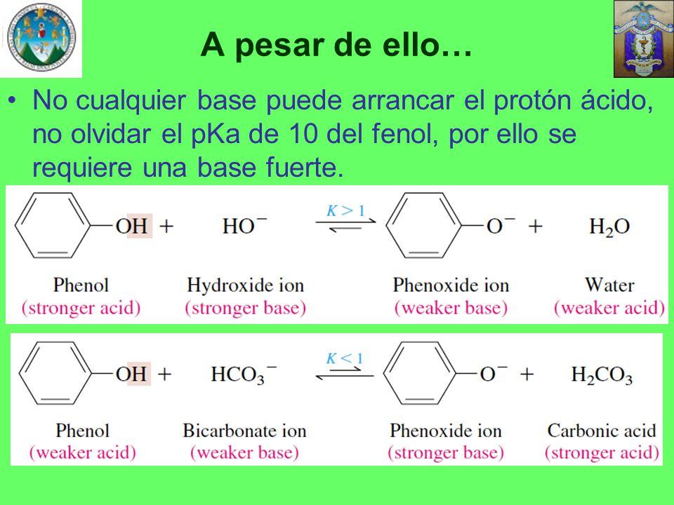 A pesar de ello… No cualquier base puede arrancar el protón ácido, no olvidar el pKa de 10 del fenol, por ello se requiere una base fuerte.