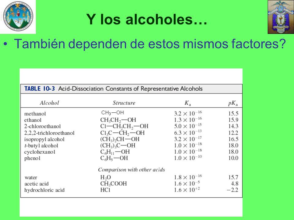 Y los alcoholes… También dependen de estos mismos factores