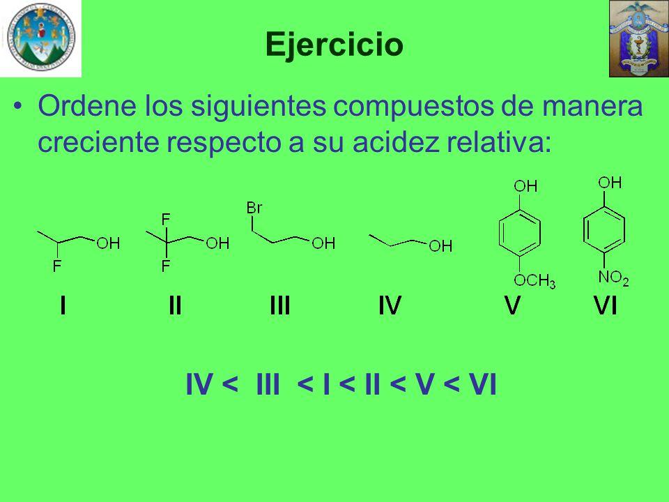 Ejercicio Ordene los siguientes compuestos de manera creciente respecto a su acidez relativa: IV < III < I < II < V < VI.