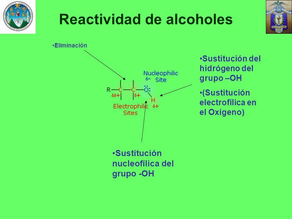 Reactividad de alcoholes