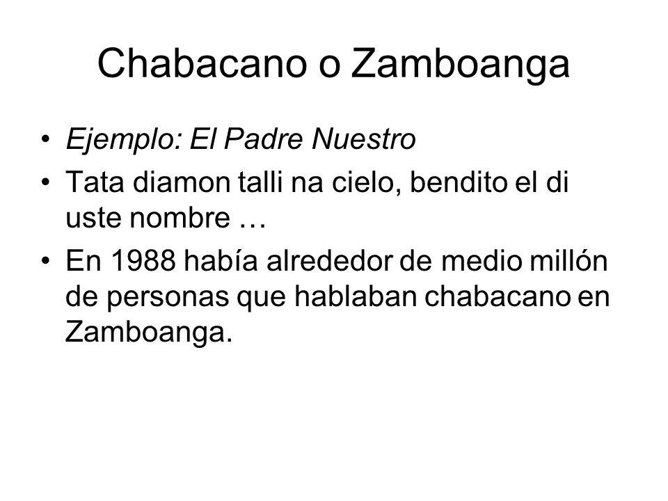 Chabacano o Zamboanga Ejemplo: El Padre Nuestro