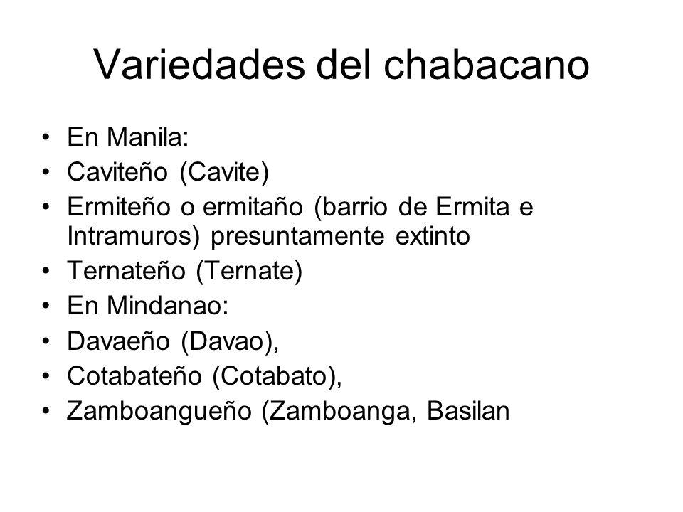 Variedades del chabacano