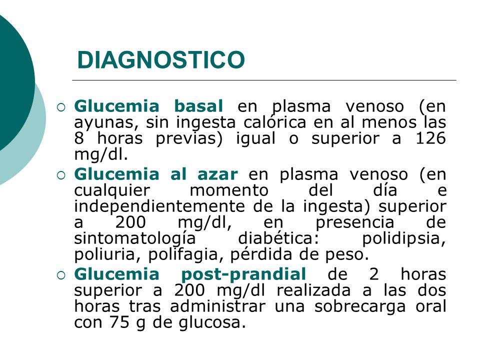 DIAGNOSTICO Glucemia basal en plasma venoso (en ayunas, sin ingesta calórica en al menos las 8 horas previas) igual o superior a 126 mg/dl.