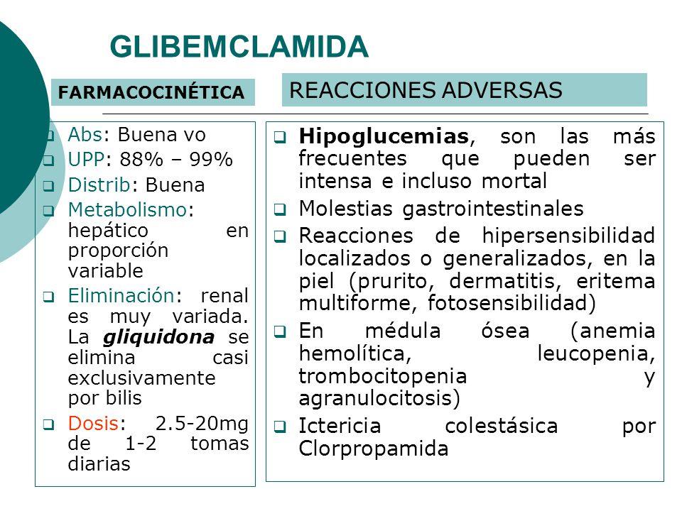 GLIBEMCLAMIDA REACCIONES ADVERSAS