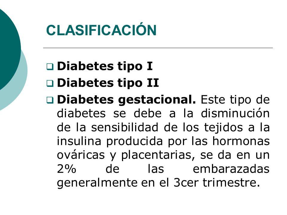 CLASIFICACIÓN Diabetes tipo I Diabetes tipo II