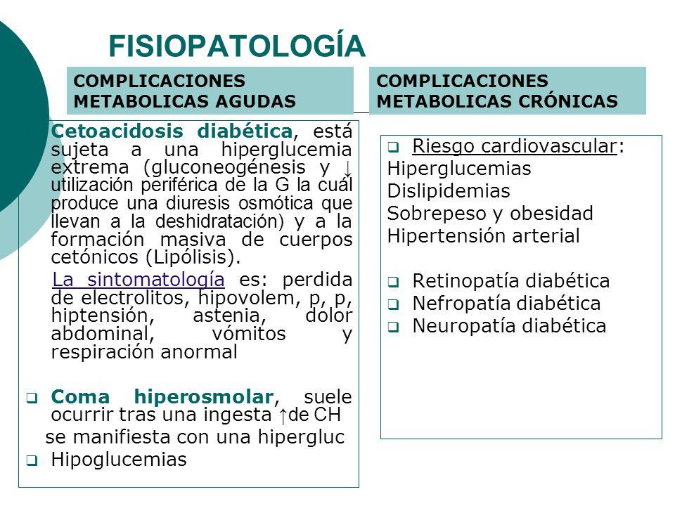 FISIOPATOLOGÍA COMPLICACIONES METABOLICAS AGUDAS. COMPLICACIONES METABOLICAS CRÓNICAS.