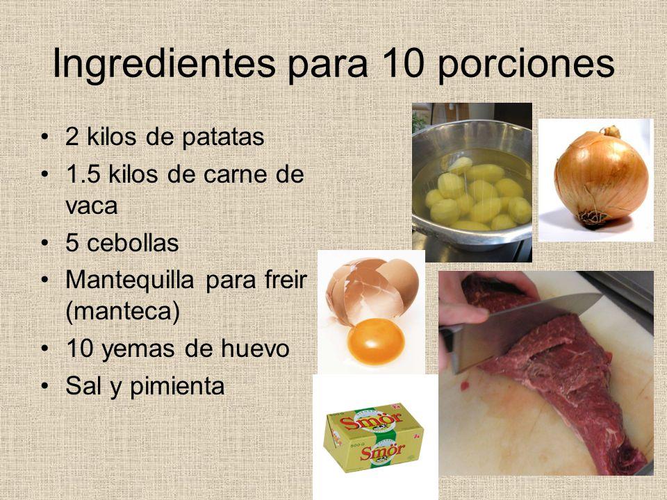 Ingredientes para 10 porciones