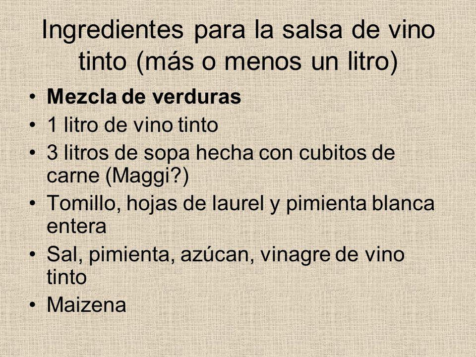 Ingredientes para la salsa de vino tinto (más o menos un litro)