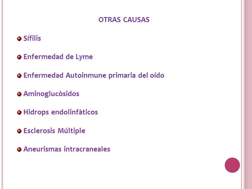 OTRAS CAUSAS Sífilis. Enfermedad de Lyme. Enfermedad Autoinmune primaria del oído. Aminoglucòsidos.