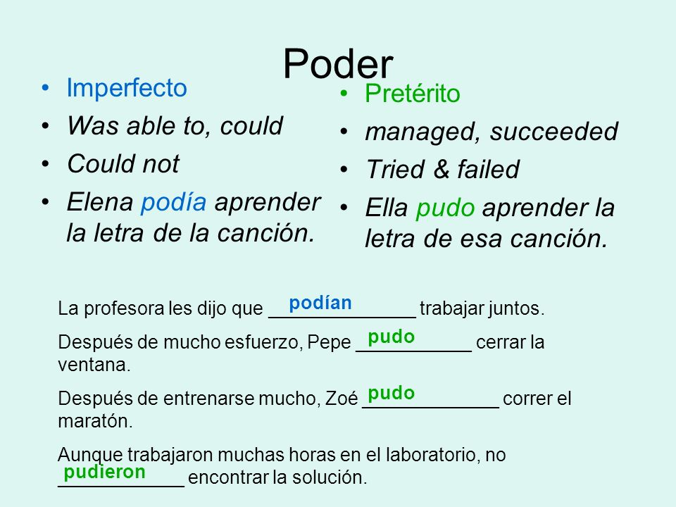 Poder Imperfecto Pretérito Was able to, could managed, succeeded
